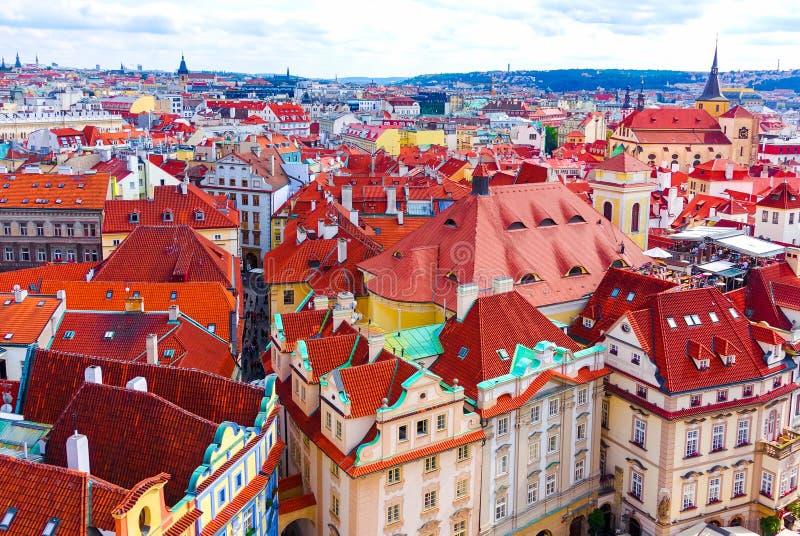Vista aerea sopra la vecchia città di Praga, repubblica Ceca immagine stock libera da diritti