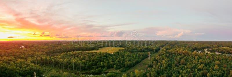 Vista aerea sopra York Carolina del Sud al tramonto immagine stock libera da diritti