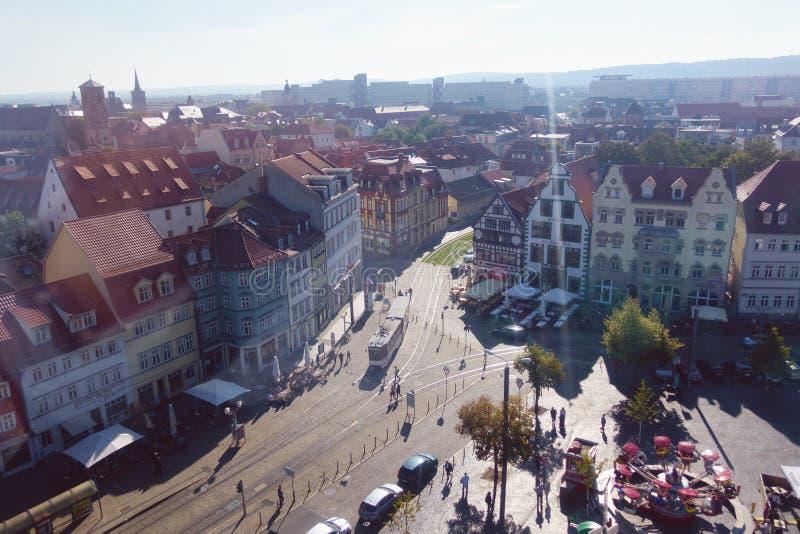 Vista aerea su Città Vecchia Corridoio nel centro di Erfurt: Thurin fotografie stock libere da diritti