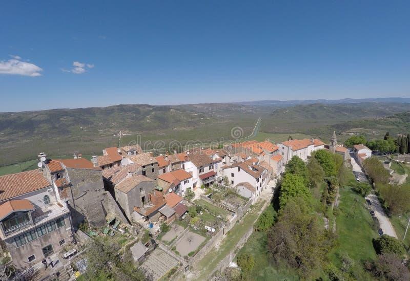 Vista aerea su Motovun fotografia stock