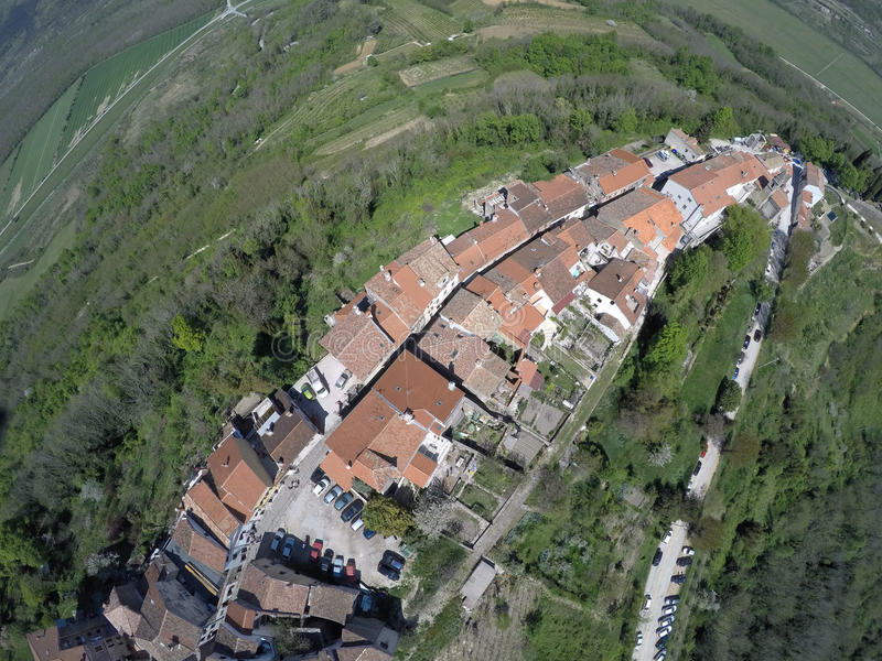 Vista aerea su Motovun immagini stock
