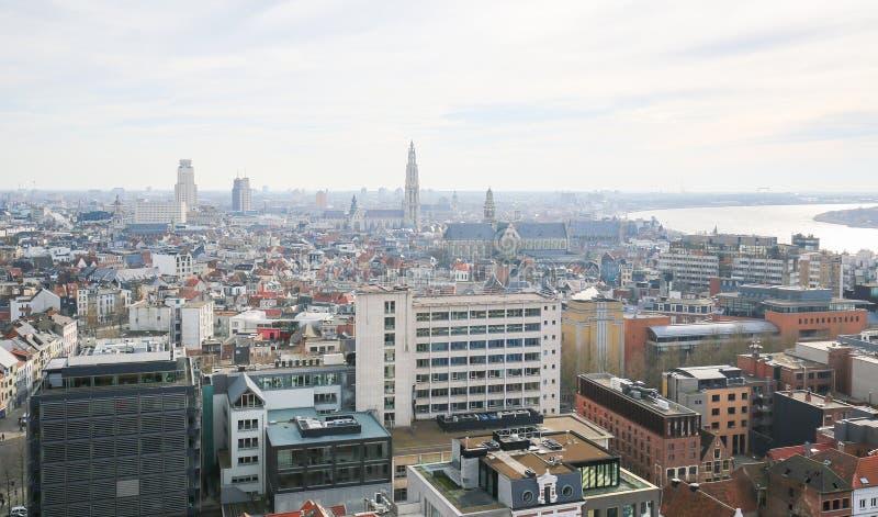 Vista aerea sul centro di Anversa, Belgio fotografia stock
