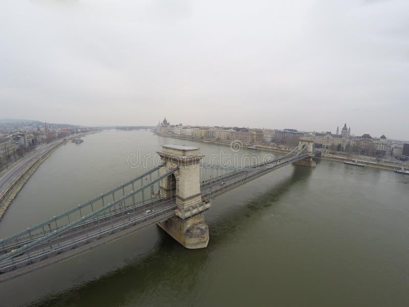 Vista aerea sul ponte a catena a Budapest immagine stock