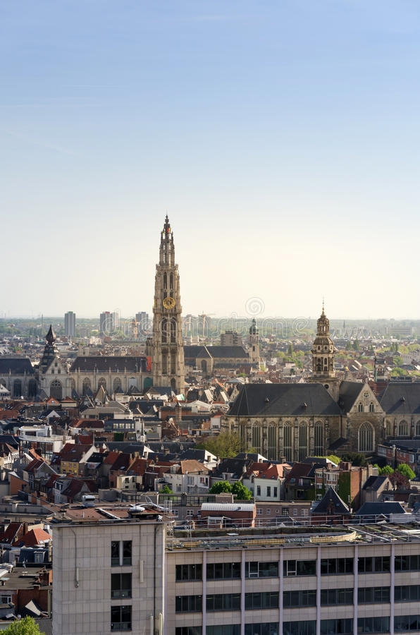 Vista aerea sulla cattedrale della nostra signora e sulla chiesa di Saint Paul a Anversa fotografia stock