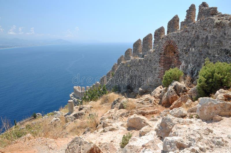 Vista aerea sulla fortezza di Alanya fotografie stock