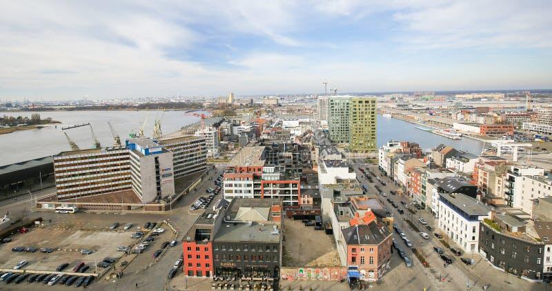 Vista aerea sulla parte settentrionale di Anversa, Belgio fotografia stock libera da diritti