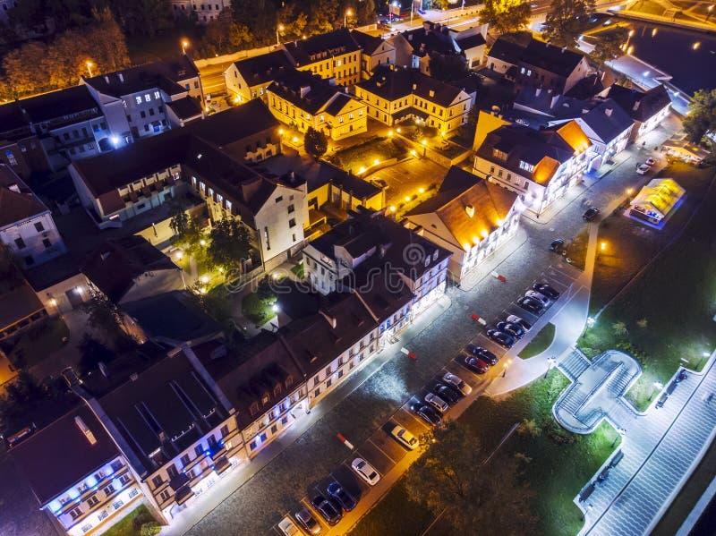 Vista aerea superiore della città di Minsk Zona residenziale alla notte immagine stock libera da diritti