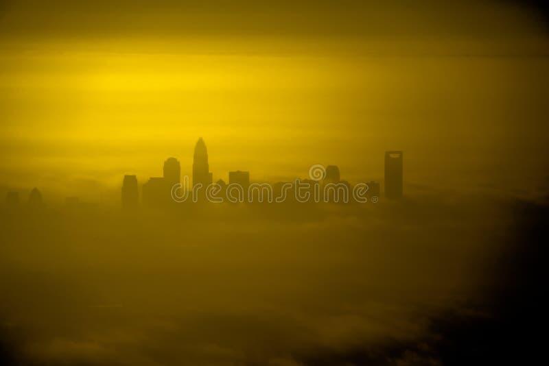Vista aerea in Th che emorning all'alba sopra il canto natalizio del nord di Charlotte immagini stock