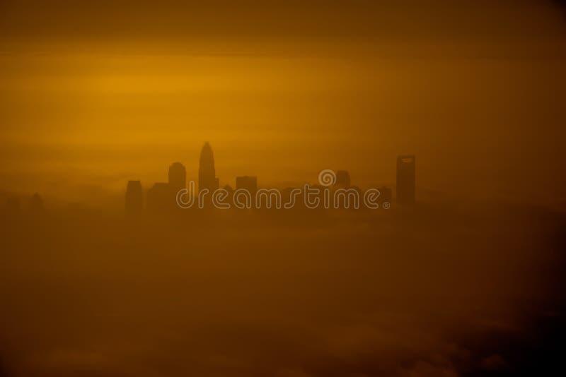Vista aerea in Th che emorning all'alba sopra il canto natalizio del nord di Charlotte fotografia stock