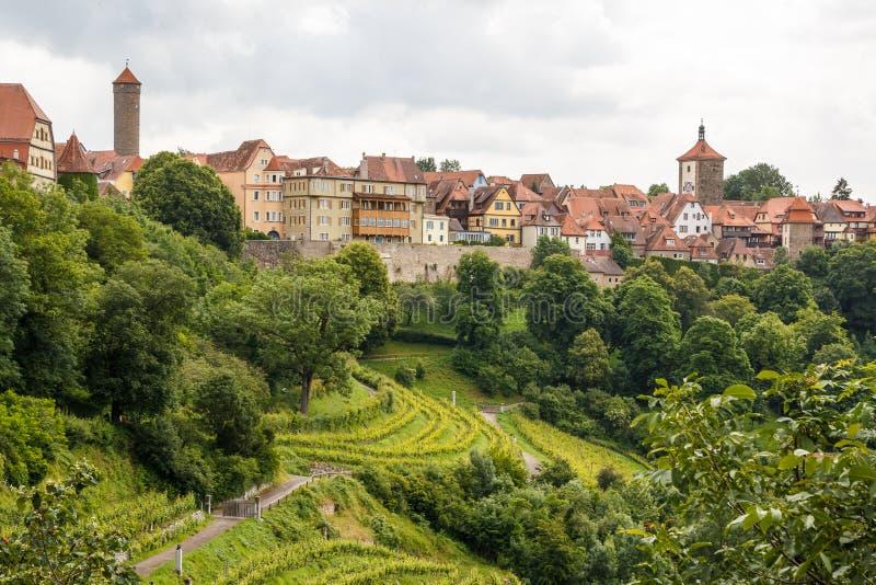 Vista ai tetti del der Tauber del ob di Rothenburg fotografia stock