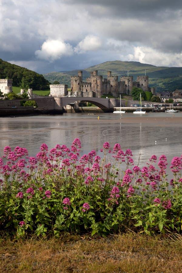 Vista al castello di Conwy fotografia stock