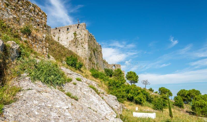 Vista al castello di Rozafa fotografia stock libera da diritti