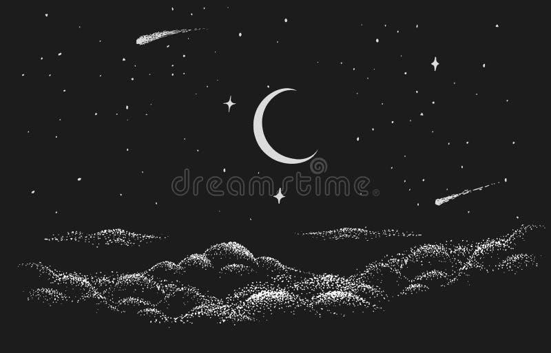 Vista al cielo nocturno ilustración del vector