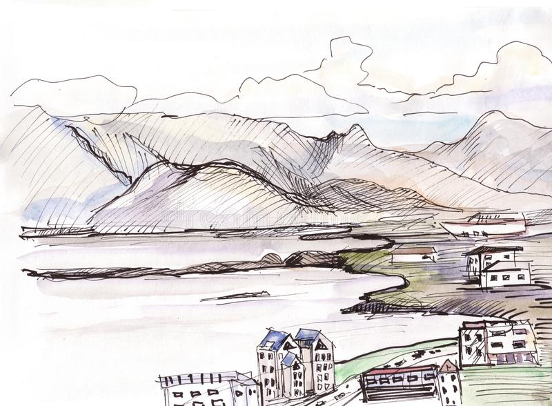 Vista al golfo en Reykjavik stock de ilustración