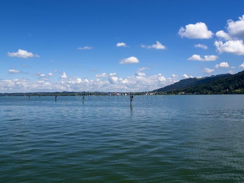 Vista al lago di Costanza, Bodensee in Bregenz, Austria fotografia stock