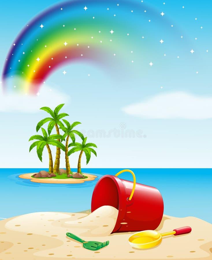 Vista al mar con los juguetes en la arena ilustración del vector