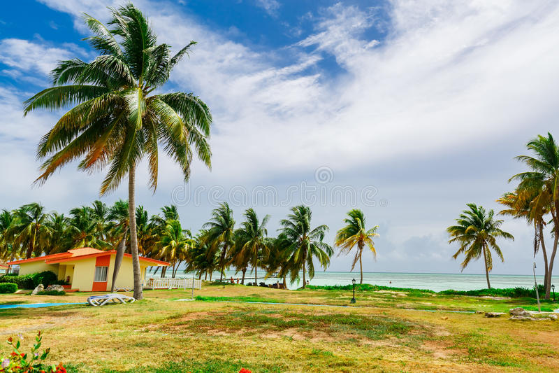 Vista al mar tropical de la playa del paisaje magnífico hermoso imagen de archivo libre de regalías