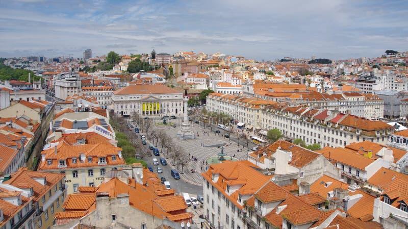 Vista al quadrato di PedroIV, Lisbona fotografia stock libera da diritti