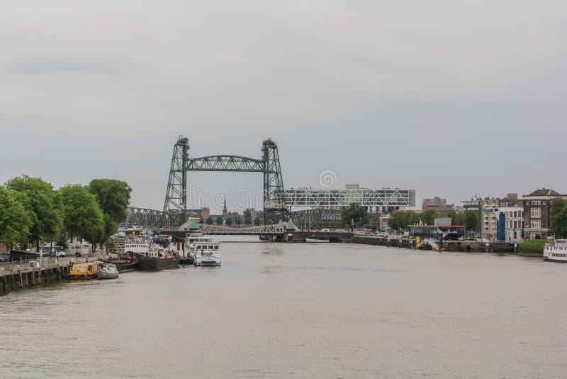 Vista al río Nieuwe Mosa de Erasmusbrug fotografía de archivo libre de regalías