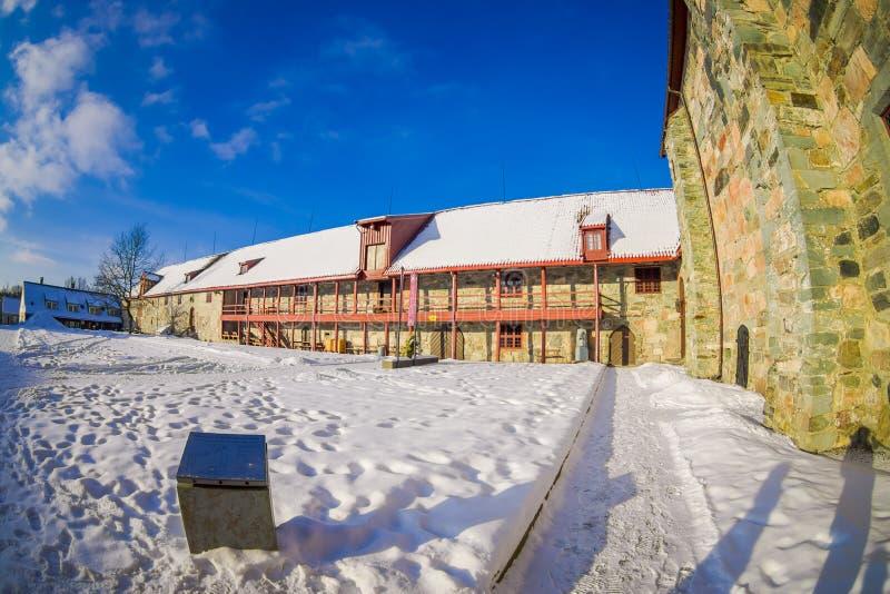 Vista all'aperto del museo di musica di Ringve a Trondeim, Norvegia fotografia stock libera da diritti