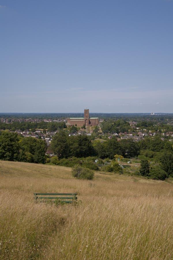 Vista alla cattedrale di Guildford fotografia stock