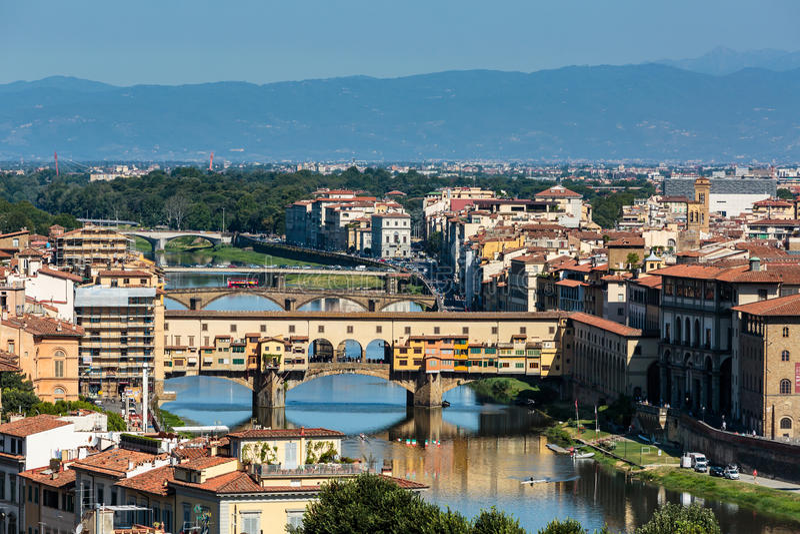 Vista alla città di Firenze da Michelangelo Square fotografia stock libera da diritti