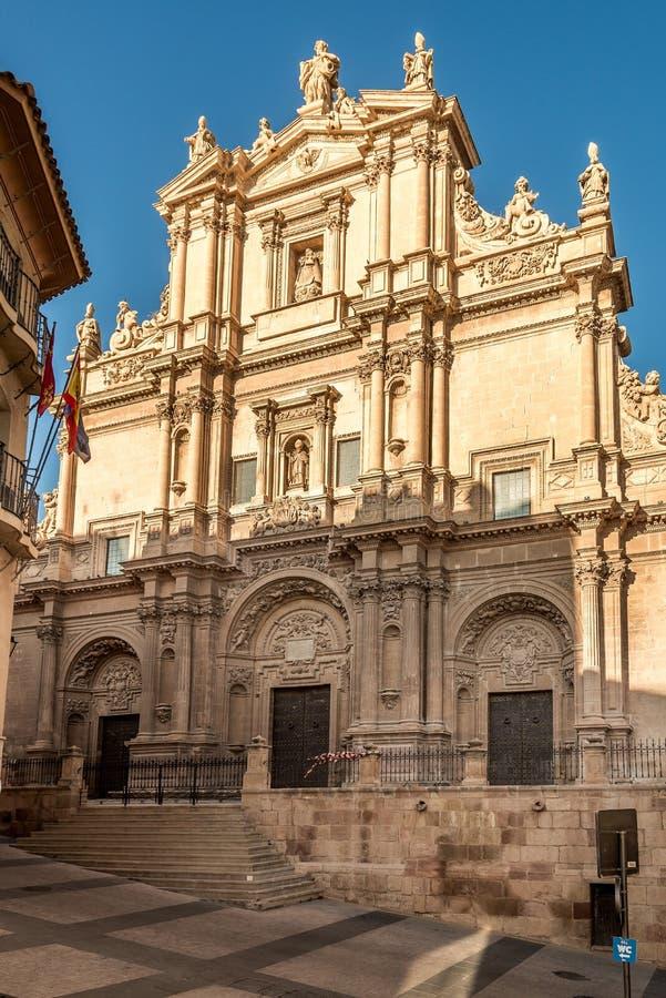 Vista alla facciata della cattedrale San Patrick a Lorca, Spagna immagine stock libera da diritti