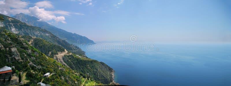 Vista alla montagna di Athos immagini stock libere da diritti