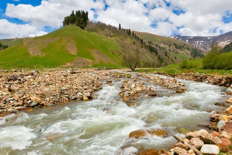 Vista alle colline pedemontana delle montagne di Caucaso vicino a Arkhyz immagine stock libera da diritti