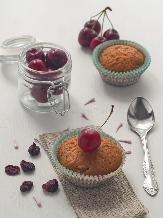 A vista alta de queques da cereja decorou com a cereja fresca e seca imagem de stock