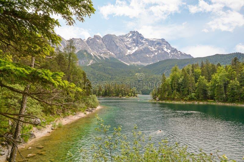 Vista ao lago Eibsee e Zugspitze, a montanha a mais alta nos cumes bávaros, Baviera Alemanha do ` s de Alemanha imagens de stock royalty free