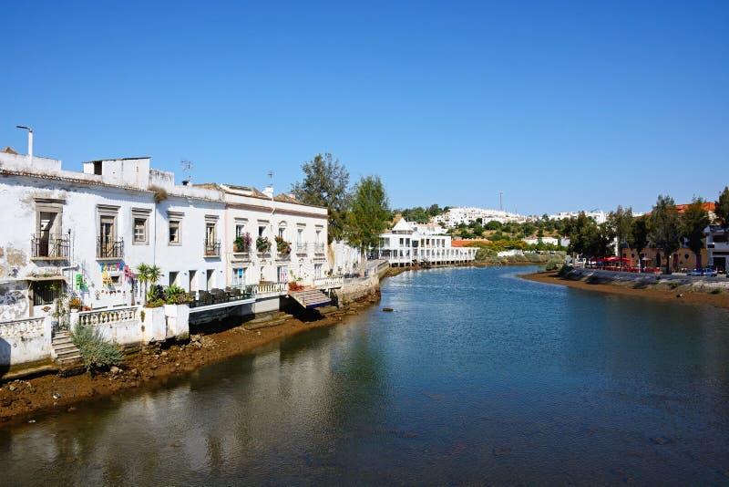 Vista ao longo do rio Gilao, Tavira foto de stock royalty free