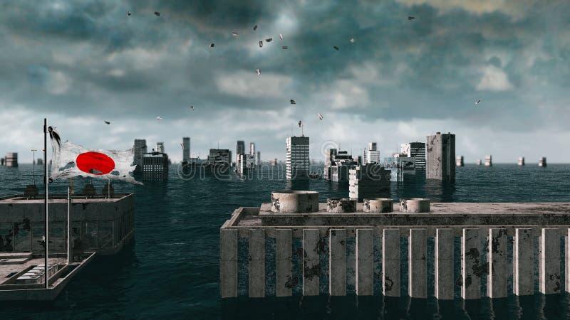 Vista apocalittica dell'acqua inondazione urbana, bandiera del Giappone tempesta 3d rendono fotografia stock libera da diritti