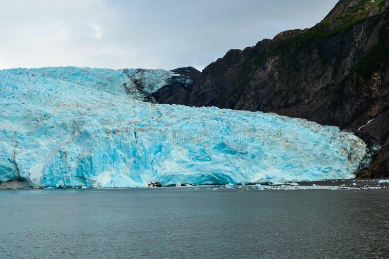Vista aproximada de uma geleira Holgate no Parque Nacional dos fiordes do Kenai, Seward, Alaska, Estados Unidos, América do Norte fotografia de stock royalty free
