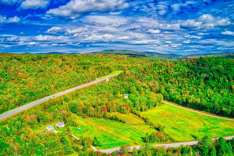 Vista areale del fogliame di caduta di New Hampshire fotografie stock libere da diritti