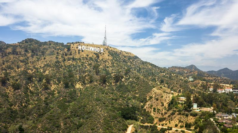 Vista areale del segno di Hollywood, Hollywood, Los Angeles, California, Stati Uniti d'America, Nord America immagini stock