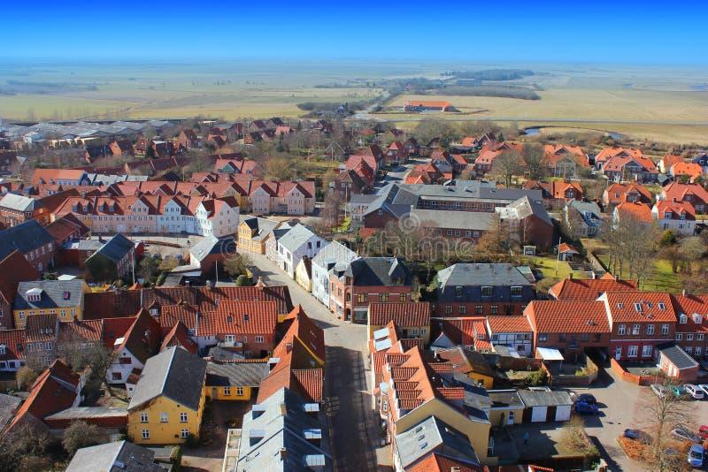 Vista areale sopra Ribe, Danimarca fotografie stock