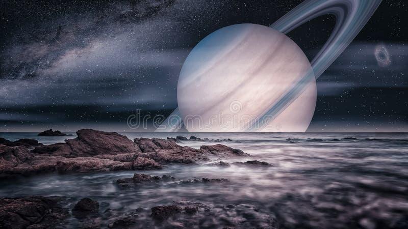 Vista artística de la luna de Saturno Titán imágenes de archivo libres de regalías