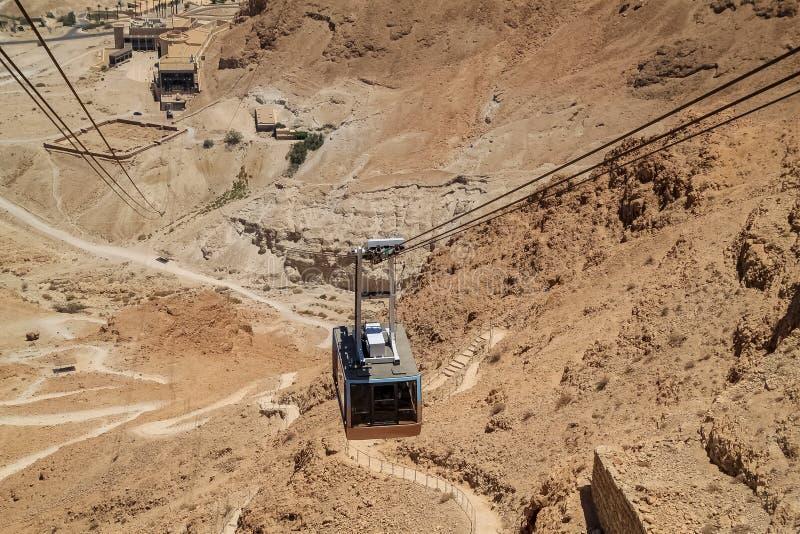 Vista ascendente cercana de la elevación del teleférico en la fortaleza de Masada en el desierto de Judean fotos de archivo