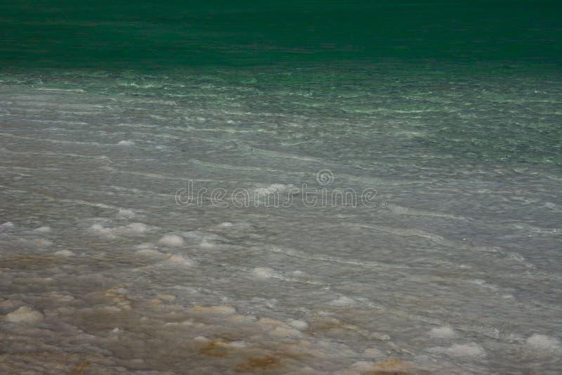 Vista ascendente cercana de los cristales de la sal y de la formación mineral en la orilla del mar muerto en el cuidado de Israel fotos de archivo libres de regalías