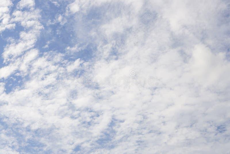 Vista ascendente di belle nuvole lanuginose bianche su cielo blu profondo fotografia stock