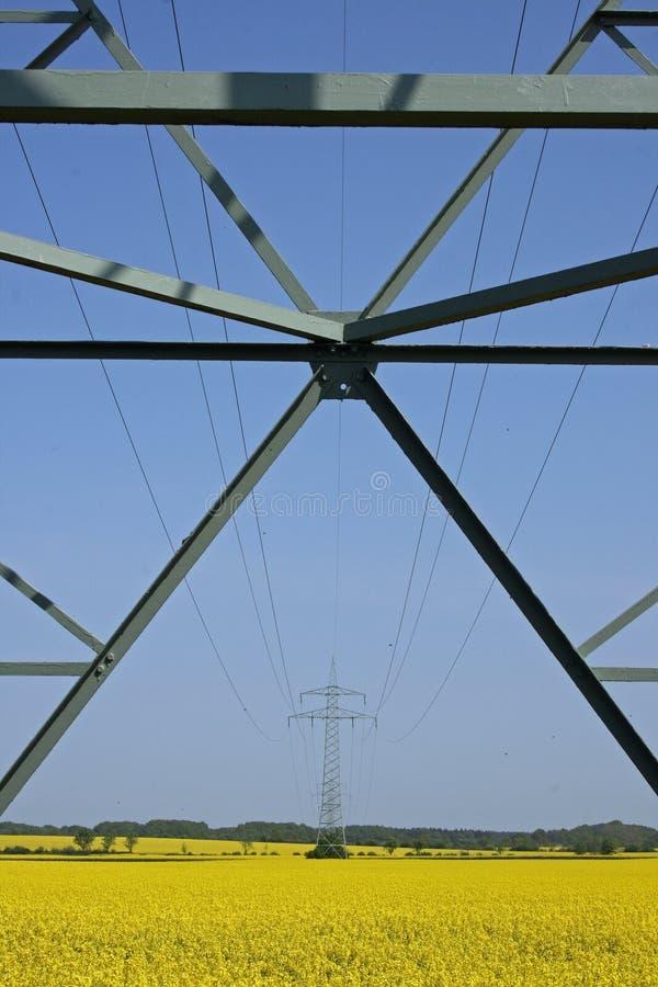 Vista ascendente dos cabos no pilão imagens de stock