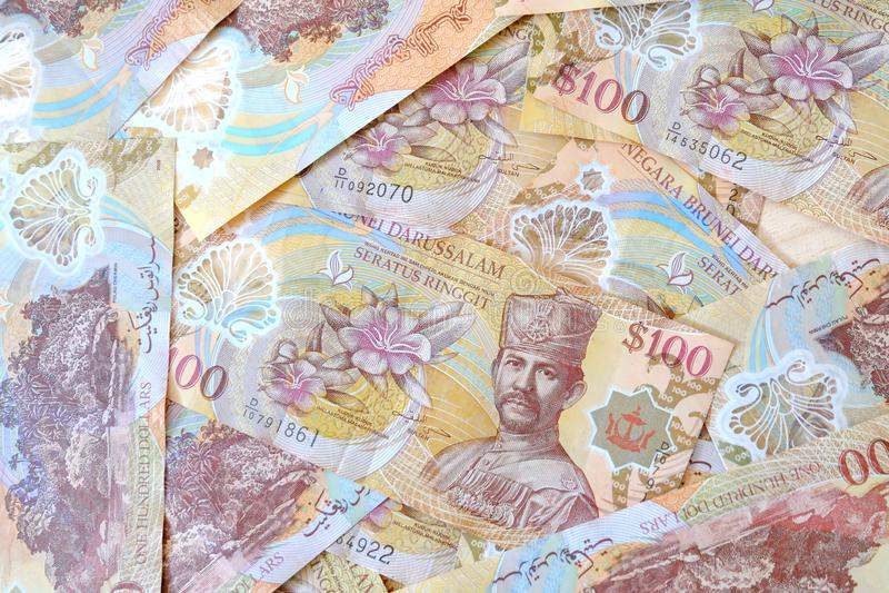 Vista ascendente próxima da cédula de Brunei Darussalam Darussalam Dólar da moeda de Brunei Darussalam fotos de stock royalty free