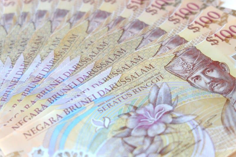 Vista ascendente próxima da cédula de Brunei Darussalam Darussalam Dólar da moeda de Brunei Darussalam foto de stock royalty free
