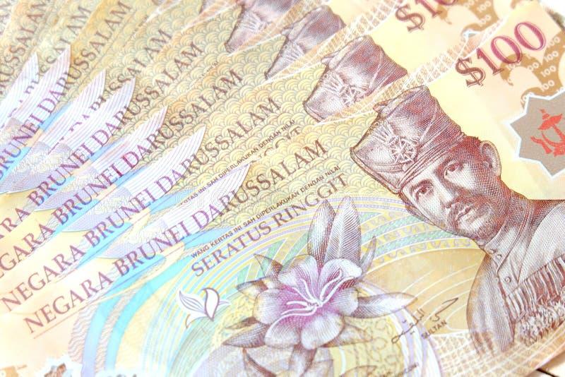 Vista ascendente próxima da cédula de Brunei Darussalam Darussalam Dólar da moeda de Brunei Darussalam fotos de stock