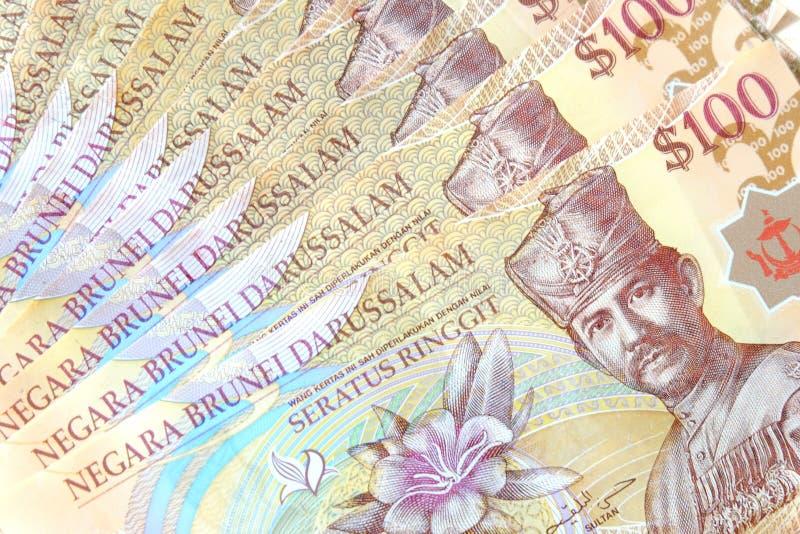 Vista ascendente próxima da cédula de Brunei Darussalam Darussalam Dólar da moeda de Brunei Darussalam foto de stock