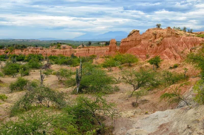 Vista asombrosa al desierto colorido de Tatacoa imagenes de archivo