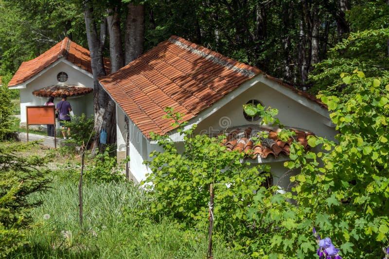 Vista asombrosa de iglesias en el bosque de la cruz del gora de Krastova, montaña de Rhodope, Bulgaria imagen de archivo