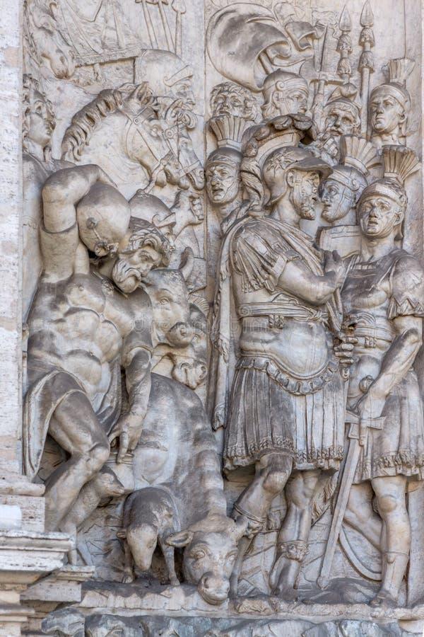 Vista asombrosa de la fuente de Moses Fountain Acqua Felice en la ciudad de Roma, Italia imagen de archivo