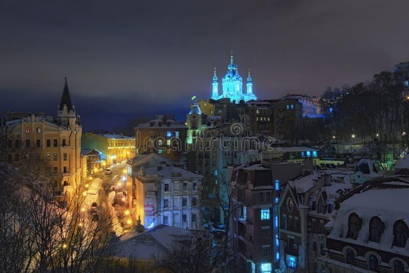Vista asombrosa de la pendiente de Andreevsky Los edificios más hermosos en esta calle son iglesia del ` s del castillo y de St A fotografía de archivo